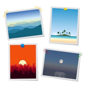 Foto di paesaggi, montagne, isole, città e mare. modelli di biglietti o promemoria allegati con puntine da disegno, graffette e raccolta di nastri adesivi.