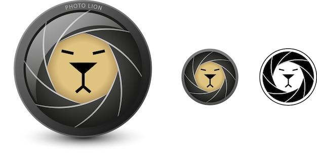 Icona creativa intelligente del logotipo del leone fotografico