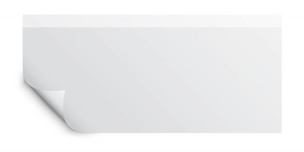 Foto realistica pagina arricciata con ombra su un foglio bianco di carta per appunti. elemento di design per messaggio pubblicitario e promozionale isolato su sfondo bianco