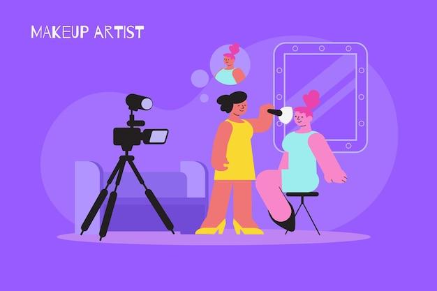 Composizione piatta trucco per sessione fotografica con personaggi di visagiste face painter e modella vicino a fotocamera professionale