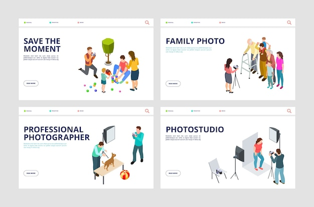 Pagine di destinazione del servizio fotografico