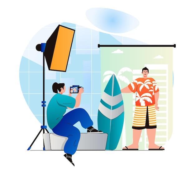 Concetto di studio fotografico in un moderno design piatto la donna con la macchina fotografica fa un servizio fotografico