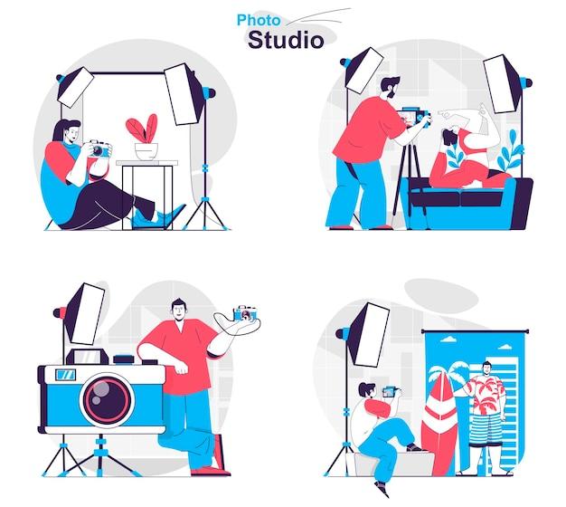 Set di concetti per studio fotografico i fotografi eseguono servizi fotografici in uno studio professionale