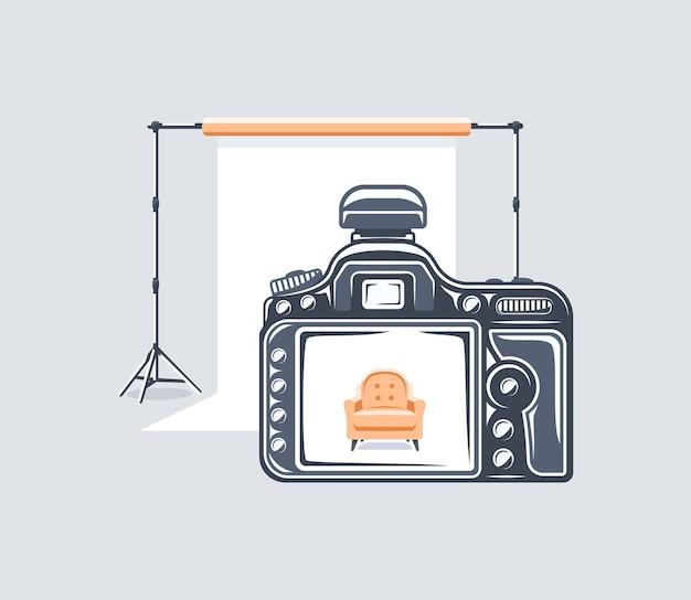 Elemento di studio fotografico isolato su sfondo bianco