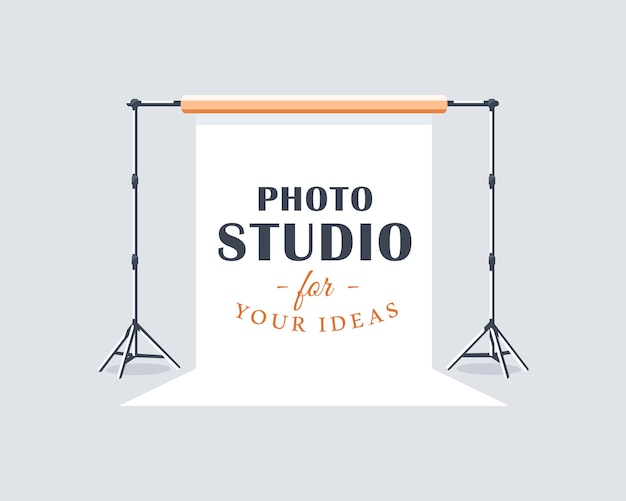 Concetto di etichetta studio fotografico. elemento di design piatto. stile del fumetto.