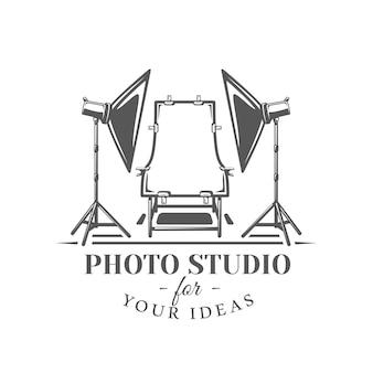 Etichetta studio fotografico isolato su sfondo bianco