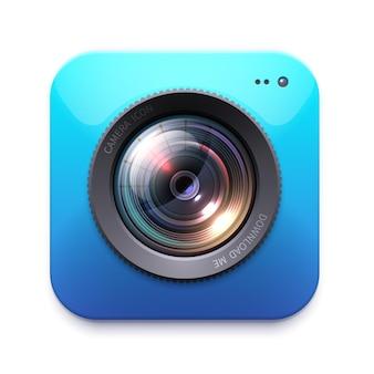 Icona della fotocamera foto o videocamera, attrezzatura del fotografo isolata. ingrandisci. istantanea, etichetta del simbolo della fotocamera o emblema. elemento di design, segno digitale grafico o pulsante, riflesso lente 3d per contenuti web