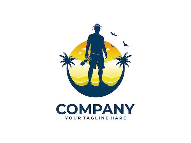 Fotografo sul logo della spiaggia