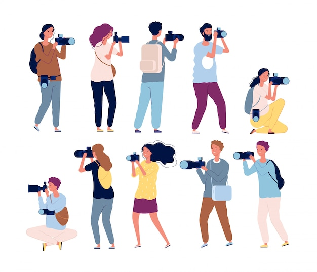 Personaggi del fotografo. videografia professionale e fotografi in piedi con la raccolta di fotocamere