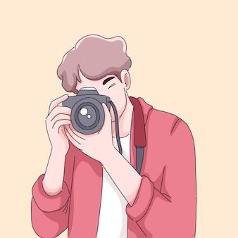 Fotografo uomo cartone animato