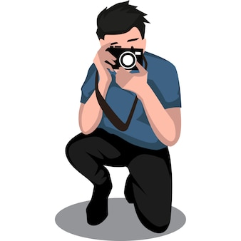 L'uomo del fotografo sta prendendo una certa illustrazione di pihoto