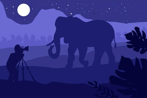 Il fotografo fotografa l'elefante in natura. illustrazione con cacciatore di foto e video in piedi con fotocamera sul paesaggio tropicale nel parco safari. vettore