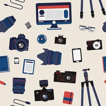 Fotografo set seamless pattern - fotocamere, obiettivi e attrezzatura fotografica