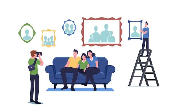 Il fotografo spara alla famiglia seduta sul divano. parenti felici personaggi di madre, padre e figlio in posa per un album fotografico in soggiorno con foto appese al muro. cartoon persone illustrazione vettoriale