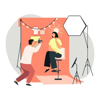 Fotografo che cattura servizio fotografico ritratto veloce per donna in abito