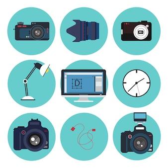 Strumenti del fotografo. kit creativo. designer set. elementi impostati. illustrazione vettoriale