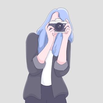 Fotografo donna cartone animato