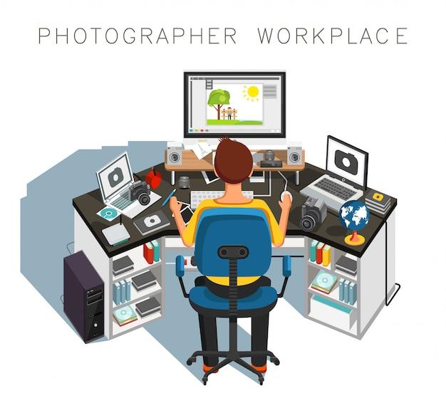 Luogo di lavoro del fotografo. fotografo al lavoro. illustrazione