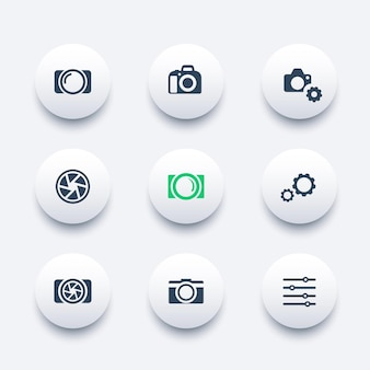Fotografia, macchina fotografica, set di icone moderne rotonde di apertura, illustrazione vettoriale