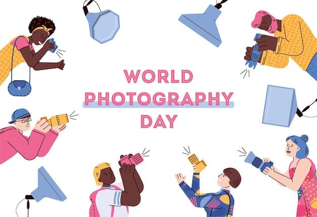 Banner per il giorno della fotografia con l'illustrazione piatta dei fotografi