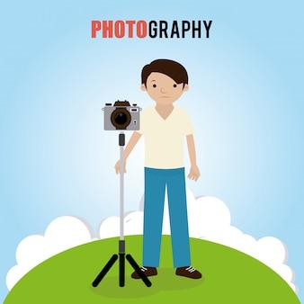 Progettazione di fotografia sopra l'illustrazione di vettore del fondo del paesaggio