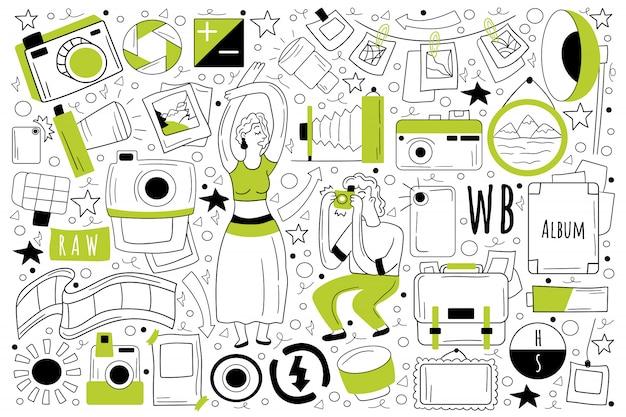 Insieme di doodle di fotografia Vettore Premium