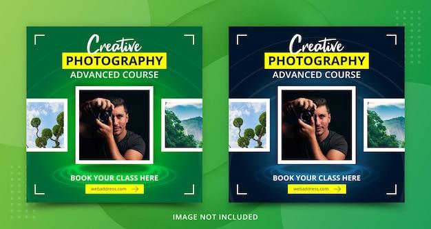 Modello di post banner per social media per il corso di apprendimento della fotografia pubblicitaria