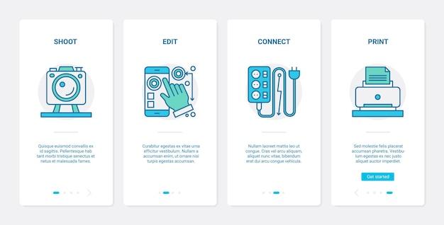 Set di schermate della pagina dell'app mobile per l'onboarding di dispositivi elettronici della linea di fotografia