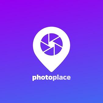 Logo della fotografia, icona dell'apertura e segnaposto pin