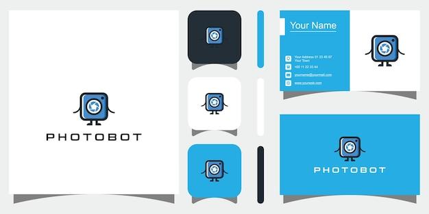 Logo della fotografia in colore nero vettore premium