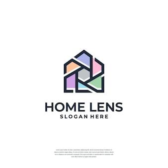 Il logo della fotografia combina modelli di logo del concetto di casa e di obiettivo