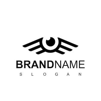Logo fotografico con occhi e ali per il simbolo della fotografia aerea