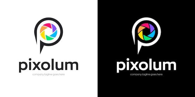 Logo fotografico con lettera p Vettore Premium