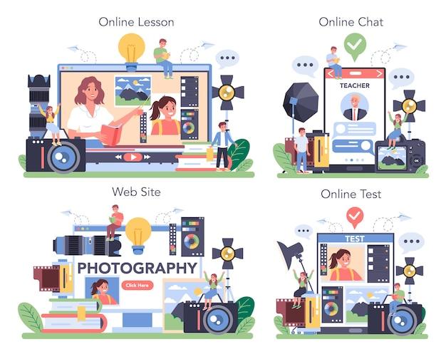 Servizio fotografico online o set di piattaforme