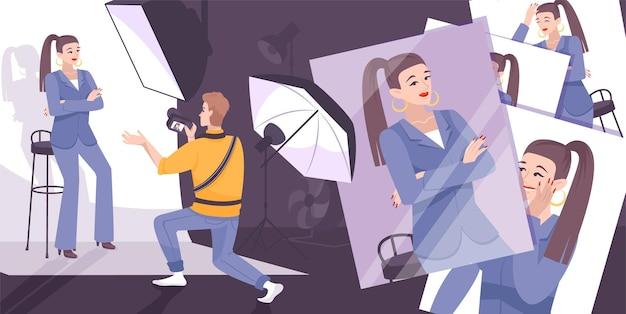 Illustrazione del processo fotografico con stile fashion