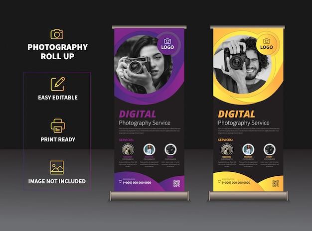 Rollup di fotografia o disegno vettoriale modello banner