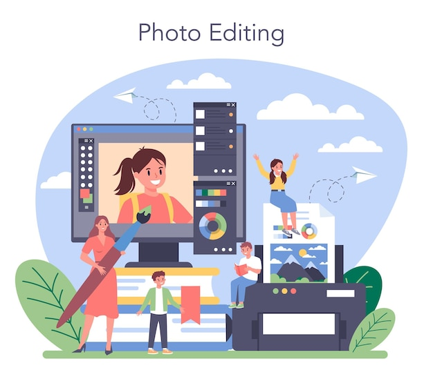 Illustrazione del corso di scuola di fotografia