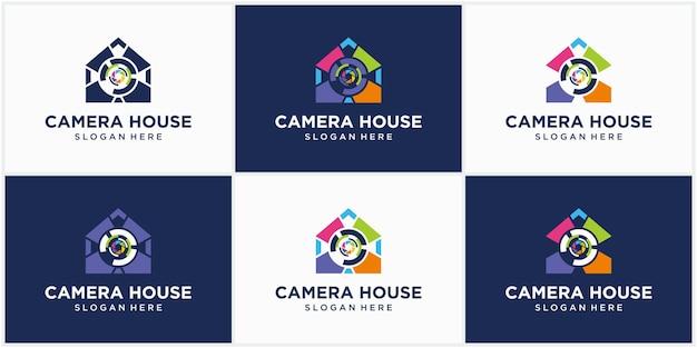 Fotografia tecnologia fotocamera casa logo logo icona modello vettoriale fotografia logo design