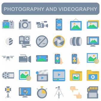 Set di icone di fotografia e videografia, stile piano