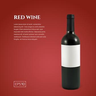 Bottiglia fotorealistica di vino rosso su rosso