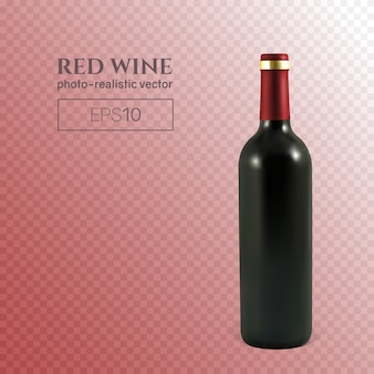 Bottiglia fotorealistica di vino rosso su trasparente