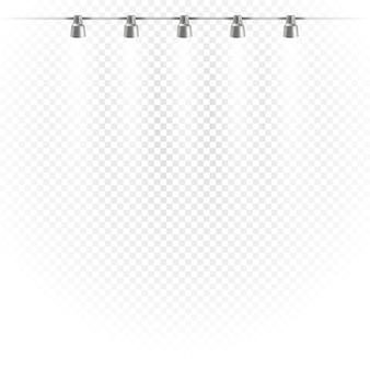 Palco luminoso fotorealistico con proiettori. faretti isolati su sfondo trasparente. modello di vettore di fase