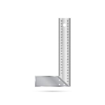 Immagine fotorealistica del righello di angolo su priorità bassa bianca