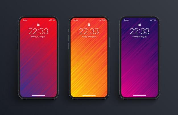 Schermo dello smartphone fotorealistico con diverse varianti di sfondi glitch art dai colori vivaci