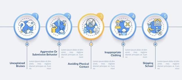 Modello di infografica segno di abuso fisico. elementi di design di presentazione della sicurezza dei bambini. visualizzazione dei dati con passaggi. elaborare il grafico della sequenza temporale. layout del flusso di lavoro con icone lineari