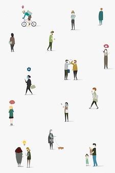 Distanziamento fisico nell'area pubblica vettore modello sociale
