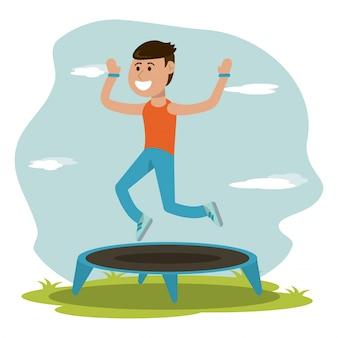 Educazione fisica - ragazzo che salta sport trampolino