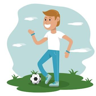 Educazione fisica - ragazzo che gioca a scuola di calcio