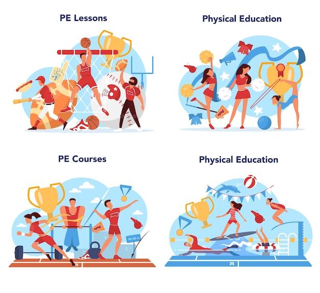 Insieme di concetto di classe di scuola lezione di educazione fisica