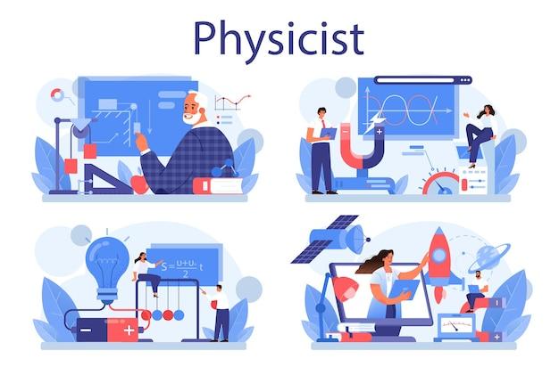 Insieme di concetti di fisico. scienziato esplora elettricità, magnetismo, onde luminose